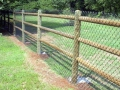 Pole and chicken wire fencing