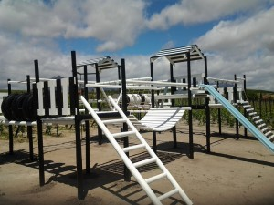 large jungle gym painted black and white